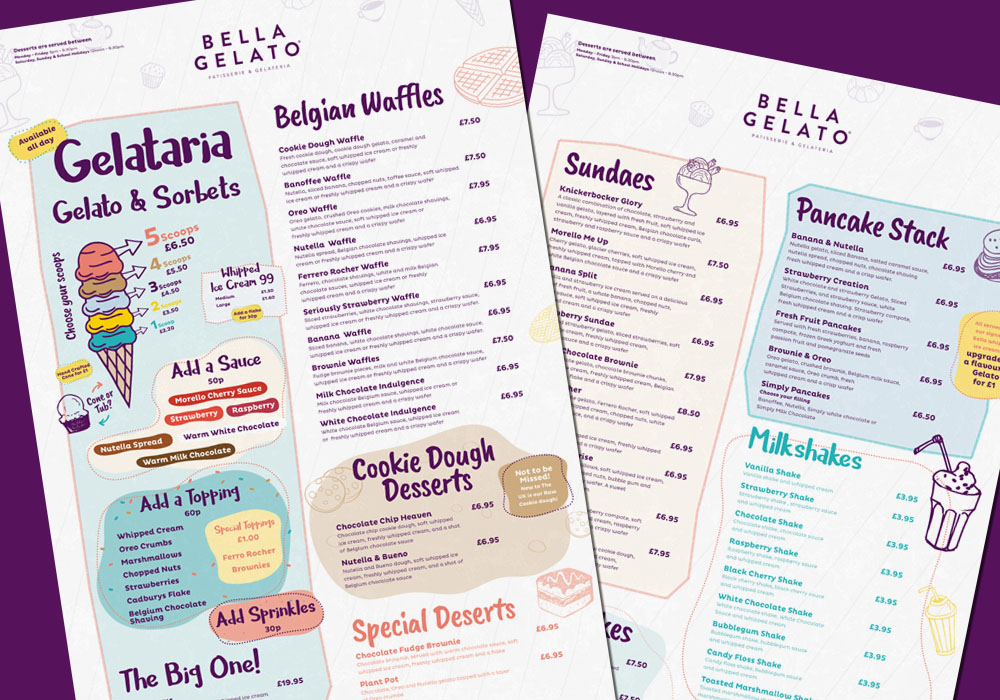 Bella Gelato - Menu Design Essex