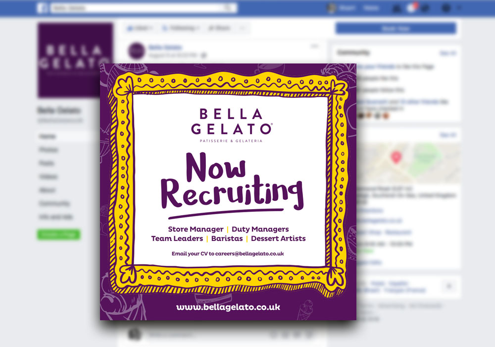 Bella Gelato - Social Media Design Essex