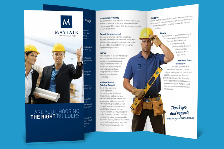 Mayfair Construction - Leaflet Design Essex